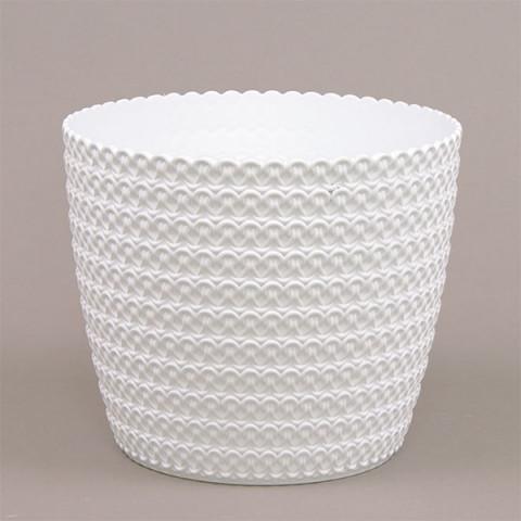 Горшок пластмассовый Магнолия Джерси белый 16 см
