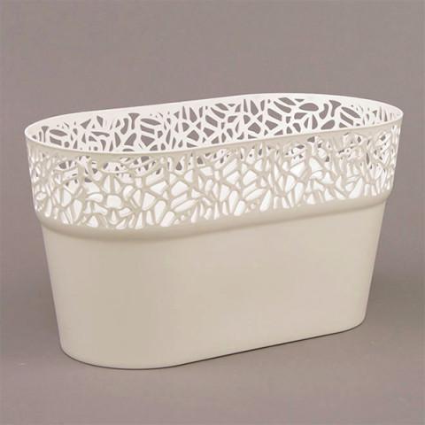 Горщик пластмасовий Naturo овальний білий 27.5 см