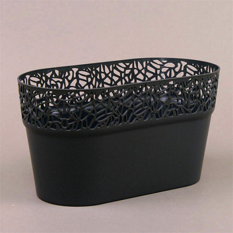 Горщик пластмасовий Naturo овальний графітовий 27.5 см