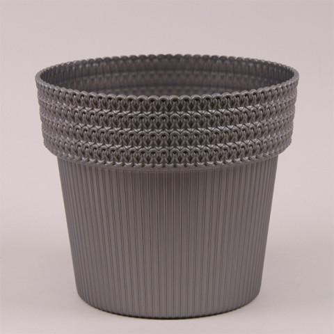 Горщик пластмасовий Pola Jumper срібний металік 14.5 см