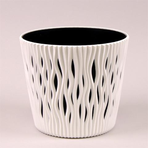 Горщик пластмасовий Sandy Round білий 16 см