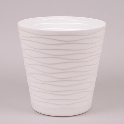 Горшок пластмассовый с подставкой Теди белый 19 см
