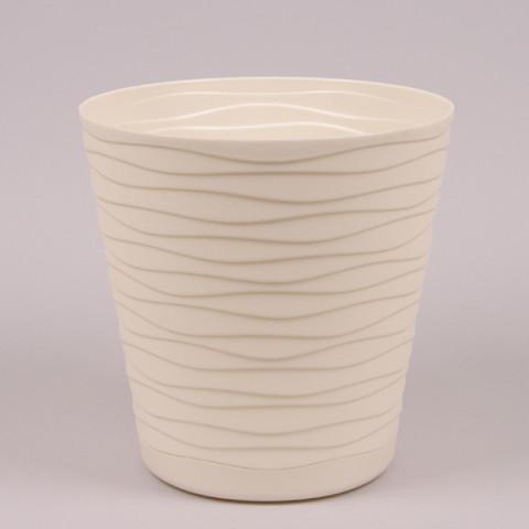 Горшок пластмассовый с подставкой Теди кремовый 19 см
