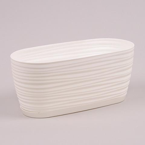Горшок пластмассовый овальный с подставкой Sahara Petit белый 26.8 см