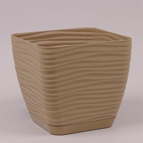 Горшок пластмассовый с подставкой Sahara Petit квадрат кофе латте 17х17 см