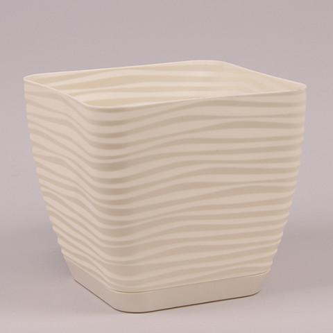 Горшок пластмассовый с подставкой Sahara Petit квадрат кремовый 11х11см