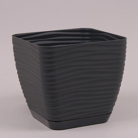 Горшок пластмассовый с подставкой Sahara Petit квадрат антрацитовый 15х15 см
