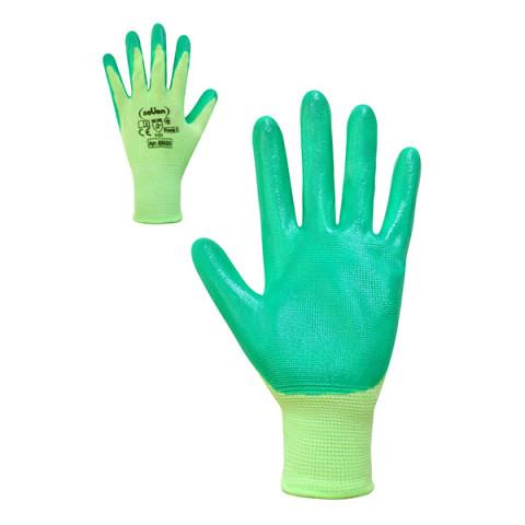 Перчатки женские салатовые с зеленым нитриловым покрытием 8 размер (б)