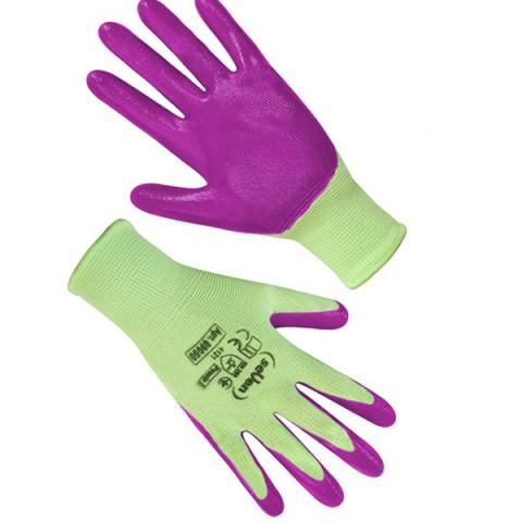 Перчатки женские салатовые с фиолетовым нитриловым покрытием 69858 (б)