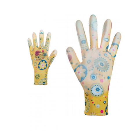 Перчатки женские синтетические желтые с полиуретановым покрытием цветной принт