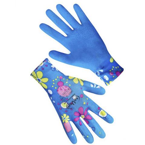 Перчатки женские синтетические с неполным вспененным латексным покрытием Ромашка