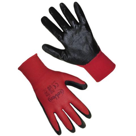 Перчатки синтетические красные с черным нитриловым покрытием 69712 (б)