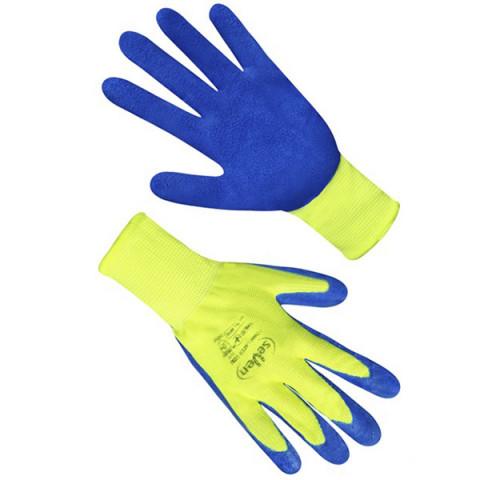 Перчатки синтетические салатовые з синим неполным спененым латексним покрытием FLL 9416