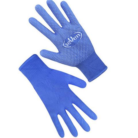 Перчатки синтетические с ПВХ точкой синие