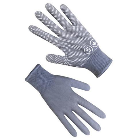 Перчатки синтетические с ПВХ точкой серые