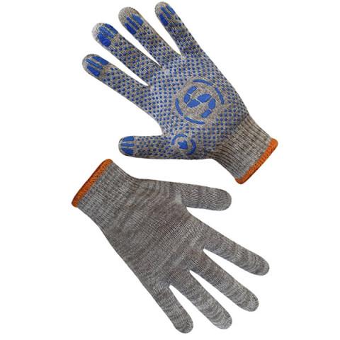 Перчатки трикотажные серые с ПВХ синего цвета 71502