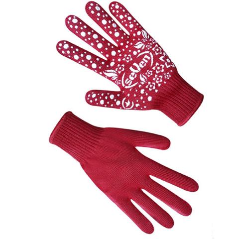 Перчатки трикотажные женские красные с ПВХ точкой 7105
