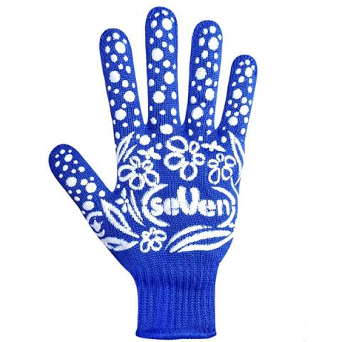 Перчатки трикотажные женские синие с ПВХ точкой 7107