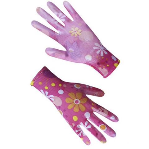 Перчатки женские синтетические красные / розовые с полиуретановым покрытием цветной принт