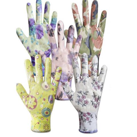 Перчатки женские синтетические с силиконовым покрытием ассорти