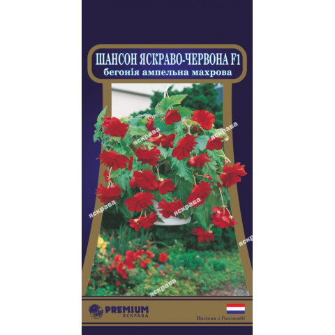 Бегония ампельная махровая Шансон Ярко-красная F1 (10 семян в оболочке)