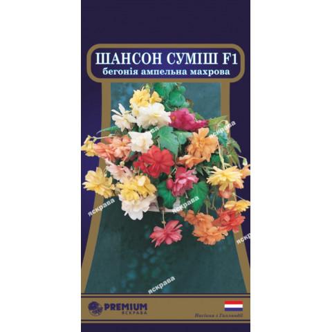 Бегония ампельная махровая Шансон Смесь F1 (10 семян в оболочке)