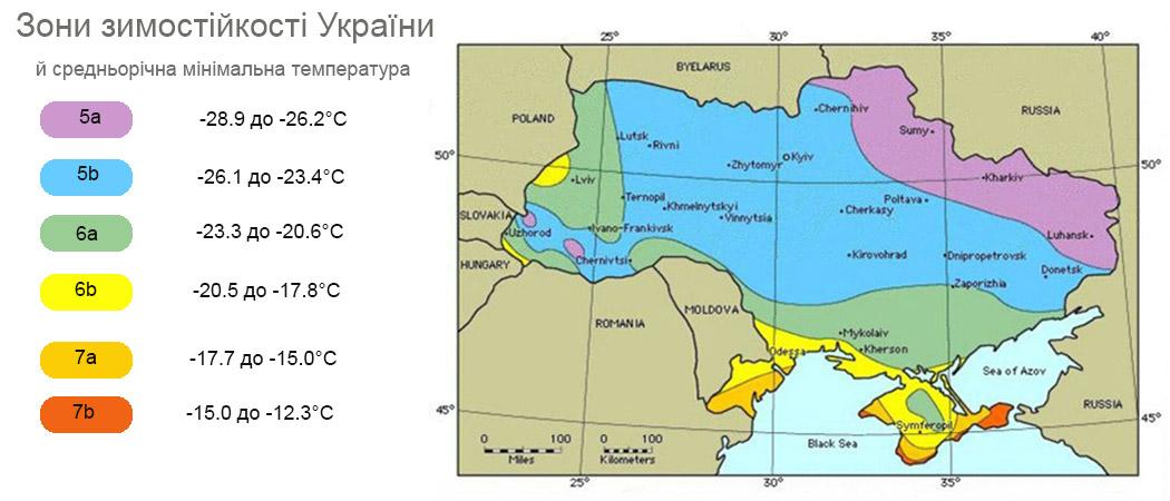 карти морозостійкості України, кліматичні зони. фото